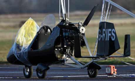 The scene at Long Marston airfield after a gyrocopter hit and killed Trevor Morse