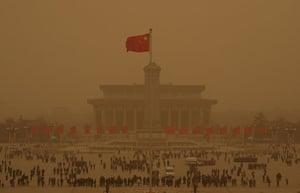 Sandstorms in China: Tiananmen Square is seen amid a sandstorm in Beijing