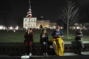Healthcare reform: Protestors remain late in the evening after a 'Kill the Bill' rally