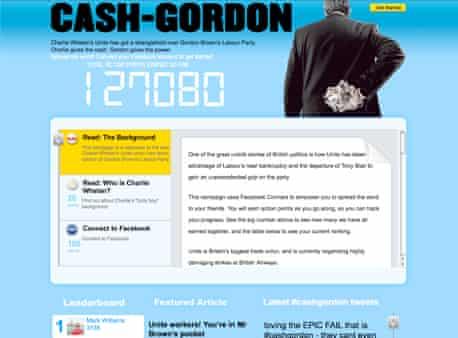 cash-gordon.com, the Conservative's campaign site attacking Labour's links with Unite