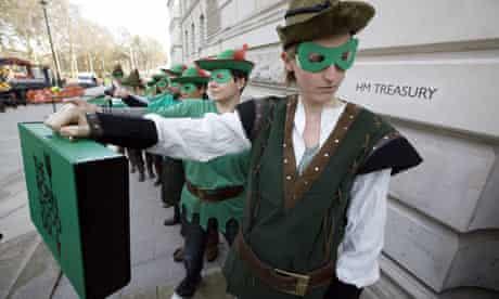 Robin Hood tax campaigners protest outside the Treasury