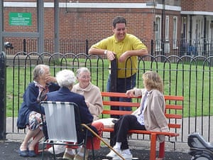 postively public housing: Peckwater Estate Kentish Town old people sitting on a bench