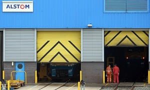 Workers outside the Alstom maintenance depot in Chester, north-west England