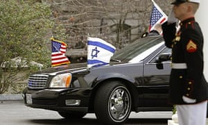 Israeli prime minister, Benjamin Netanyahu, arrives in a limousine at the White House