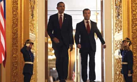 Barack Obama and Dmitry Medvedev in Moscow