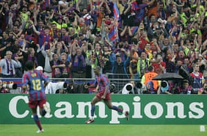 06 Champions League Final: Samuel Eto'o Celebrates Scoring The Equaliser For Barca.
