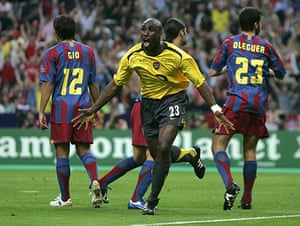 06 Champions League Final: Arsenal's Sol Campbell celebrates after scoring against Barcelona