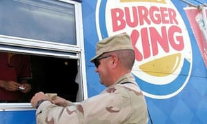 US soldier at Burger King outlet