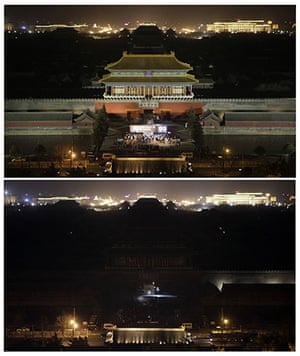 Earth Hour: The Forbidden City before and during Earth Hour in Beijing