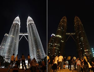 Earth Hour: Malaysia's Petronas Twin Towers' lights before and after being turned off