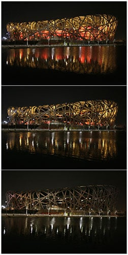 Earth Hour: The 'Bird's Nest' National Stadium before and during Earth Hour in Beijing