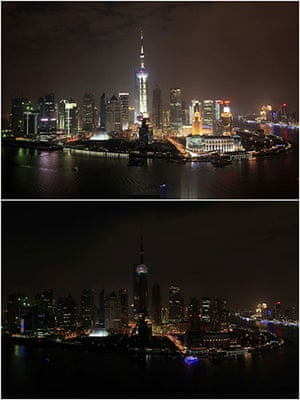 Earth Hour: The Bund on the banks of the Huangpu River before and during Earth Hour