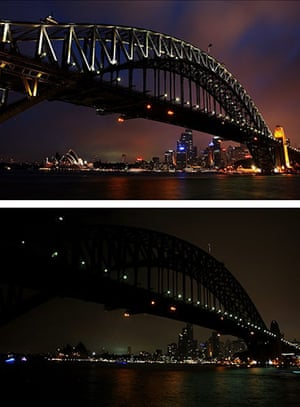 Earth Hour: The Sydney Harbour Bridge before and during Earth Hour
