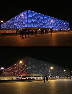 Earth Hour: The National Aquatics Center before and during Earth Hour in Beijing