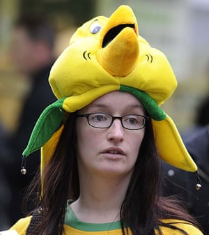 Norwich v Leeds: Norwich City fan wearing a natty piece of head-gear