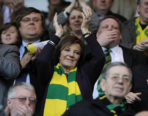Norwich v Leeds: Delia Smith applauds her team as they enter onto the pitch