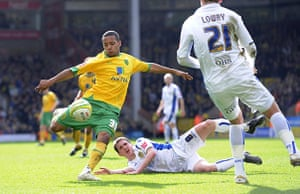 Norwich v Leeds: Korey Smith shapes up to fire a volley towards the Leeds goal