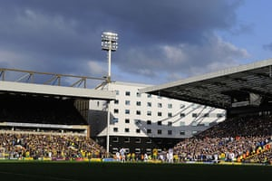 Norwich v Leeds: The sun comes out over the ground as the second half gets underway