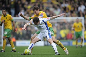 Norwich v Leeds: Grant Holt tangles with Neil Kilkenny