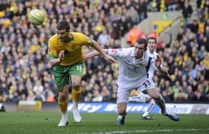 Norwich v Leeds: Chris Martin gets infront of Neil Collins