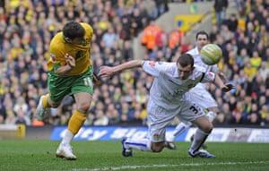 Norwich v Leeds: Chris Martin scores the winning goal
