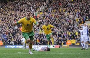 Norwich v Leeds: Chris Martin celebrates scoring the winning goal