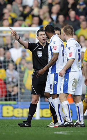 Norwich v Leeds: Tresor Kandol is sent off by referee Lee Probert