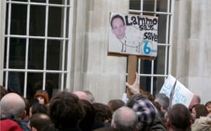 Save 6 Music protest: A protester holds up a picture of DJ Steve Lamacq - who is in New York