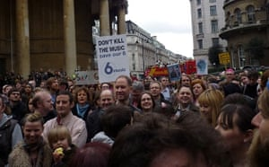 Save 6 Music protest: A view of the demonstration looking south from BBC Broadcasting House