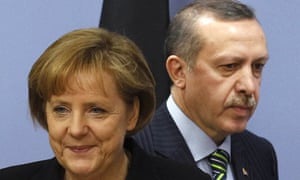 Angela Merkel and Turkey's prime minister, Recep Tayyip Erdogan, during the chancellor's visit.