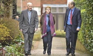 Shirley Chaplin, 54, with the Rev John Eustice (left) and barrister Paul Diamond.