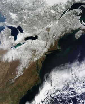 Satellite Eye: snow over eastern Great Lakes and the Atlantic Ocean