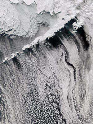 Satellite Eye: Interesting cloud patterns were visible over the Aleutian Islands, Arctic