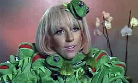 Lady GaGa wearing a Kermit the Frog outfit during an interview with German TV channel RTL