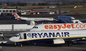 Ryanair and easyJet planes line up.