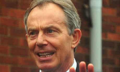 Tony Blair arrives at Trimdon Labour Club in Sedgefield, County Durham, on 30 March 2010