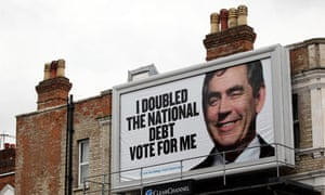 A Conservative poster of Gordon Brown saying 'I doubled the national debt - vote for me'.