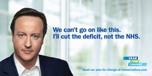 Election posters: Conservative poster featuring a large portrait of David Cameron