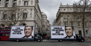 Election posters: The Conservative Party's new posters are driven past Downing Street