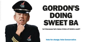 Election posters: Conservative Party poster accusing Gordon Brown of doing sweet BA