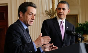 Sarkozy and Obama in the White House