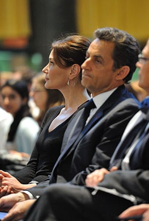 Sarkozy in the US: 29 March: President Nicolas Sarkozy and his wife at Columbia University