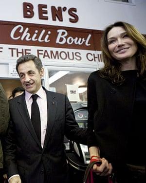 Sarkozy in the US: Nicolas Sarkozy and his wife at Ben's Chili Bowl in Washington