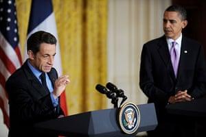 Sarkozy in the US: Nicolas Sarkozy and US President Barack Obama hold a press conference