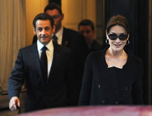 Sarkozy in the US: Nicolas Sarkozy and his wife Carla Bruni leave their Manhattan hotel