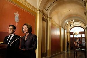 Sarkozy in the US: Nancy Pelosi with Nicolas Sarkozy on Capitol Hill