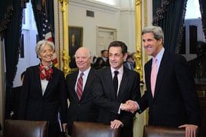 Sarkozy in the US: Nicolas Sarkozy meets US Senator John Kerry with Christine Lagarde