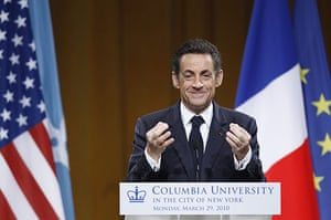 Sarkozy in the US: Nicolas Sarkozy at a World Leaders Forum at Columbia