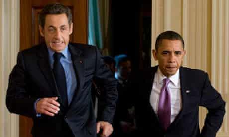 Nicolas Sarkozy and Barack Obama at the White House