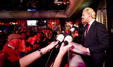 Dutch far-right politician Geert Wilders speaks to supporters in Almere after local elections